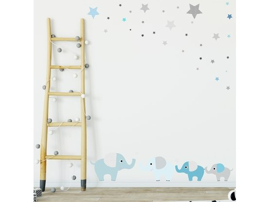 greenluup wandsticker elefanten in blau tapetensticker wandaufkleber kinderzimmer babyzimmer. Black Bedroom Furniture Sets. Home Design Ideas