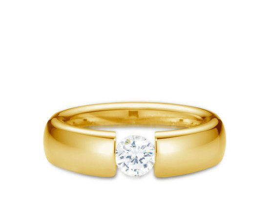 Diamantring Form 0.30 Karat in Premium Qualität | 750er Gelbgold - Brillant in G - VS1 | Artikelnummer: FORGG030G