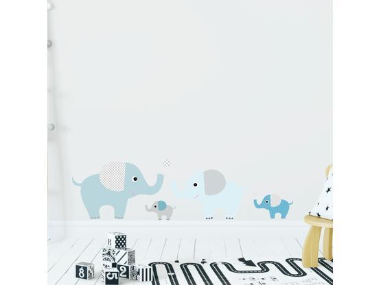 Wandaufkleber Für Kinderzimmer | Greenluup Wandsticker Elefanten In Blau Tapetensticker