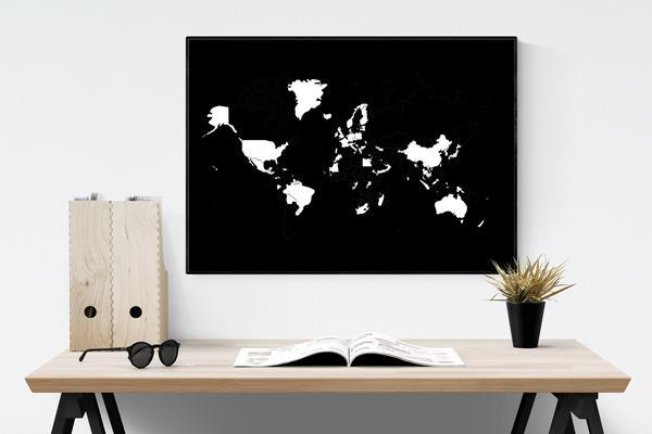 design poster schwarz wei e weltkarten. Black Bedroom Furniture Sets. Home Design Ideas