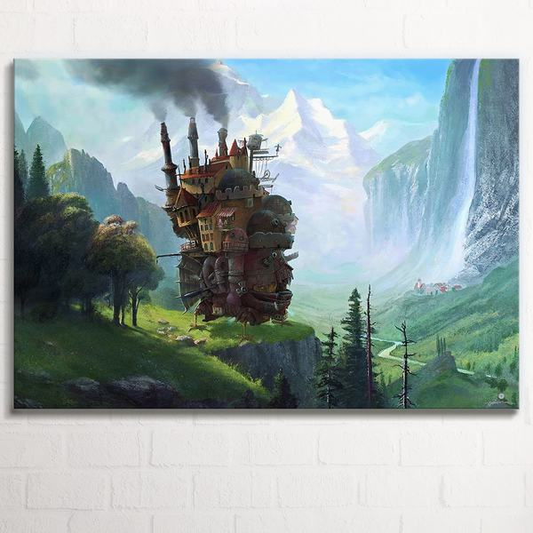 Howls Moving Castle at Staubbach Falls - 1 Panel Canvas