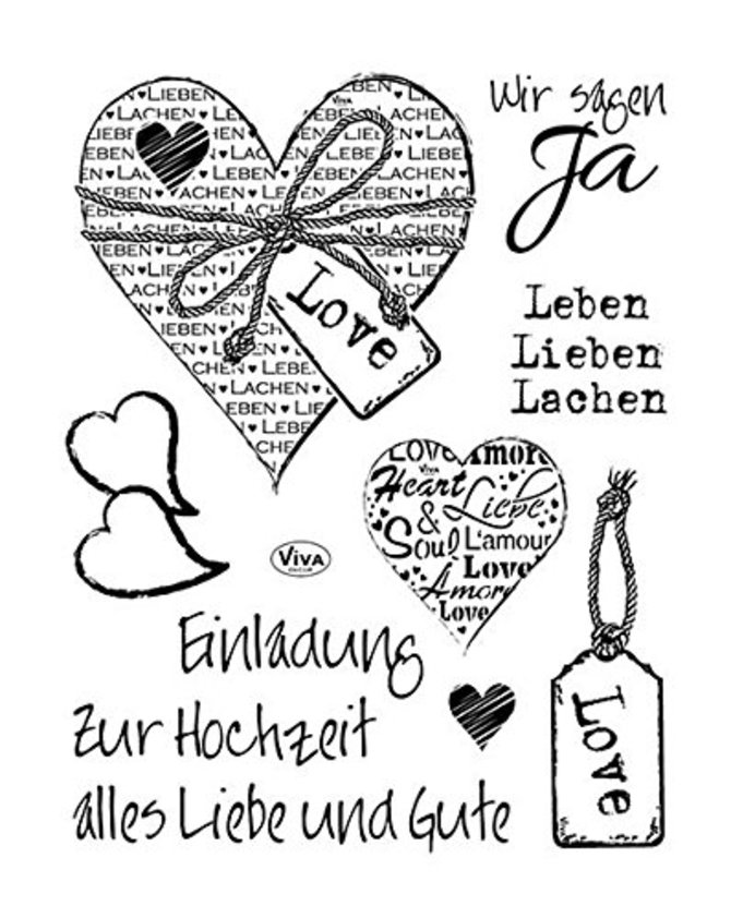 Viva Decor®? Clear-Stamps (Hochzeit) Silikon Stempel - Prägung Stempel - DIY Dekoration stanzen - Stempel Silikon - DIY Stamp - Stempel Prägung - Made in Germany