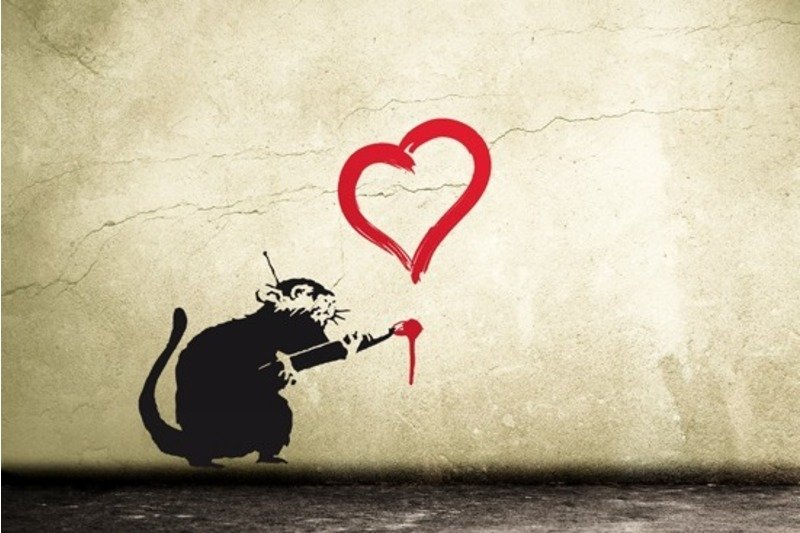 Wandtattoo banksy ratte mit herz sticker streetart urban art berlin - Urban art berlin wandtattoo ...