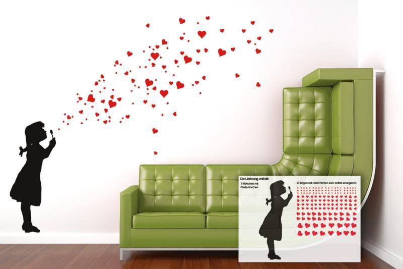 Wandtattoo Kinderzimmer HEART BUBBLE GIRL 2C Herzen Mädchen ...