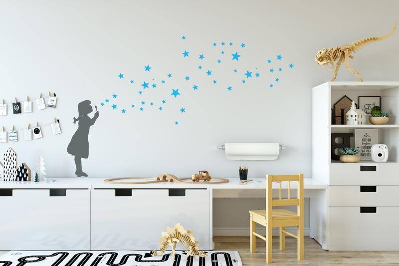 wandtattoo kinderzimmer sterne seifenblasen girl urban. Black Bedroom Furniture Sets. Home Design Ideas