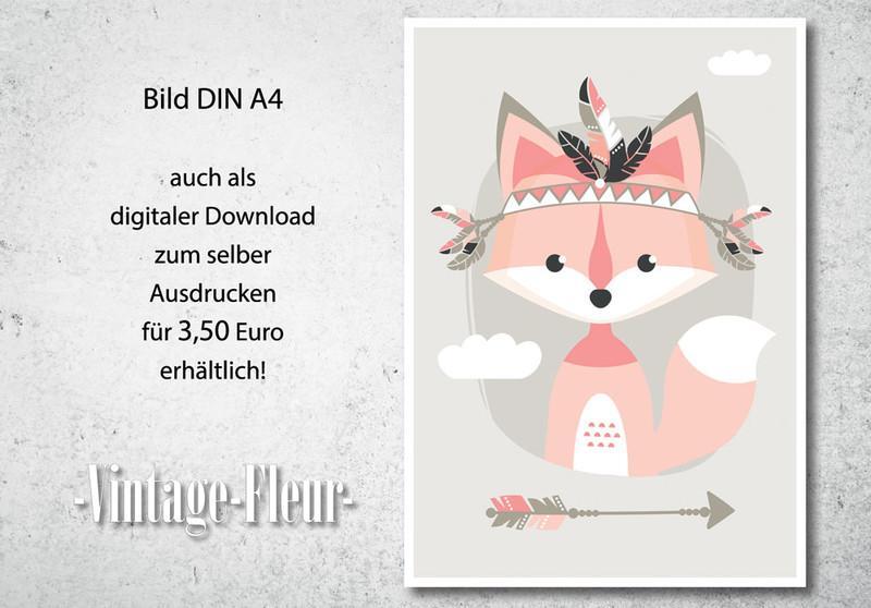 Kinderzimmer Wandbild, Poster A4/A3, Tribal Fuchs