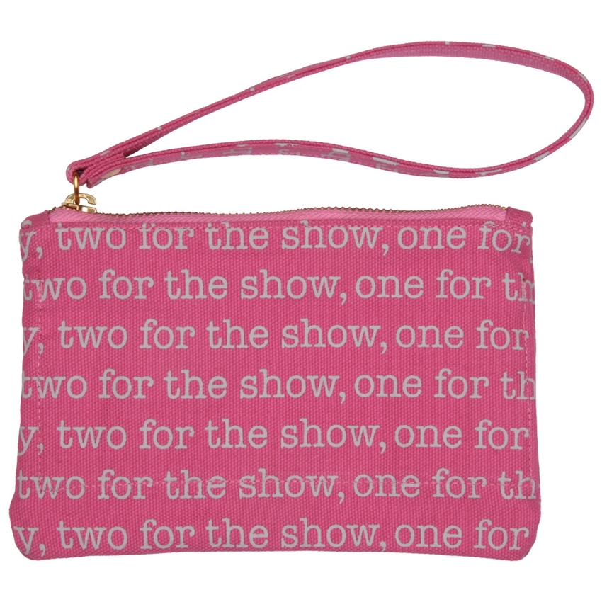 goldmarie Clutch Mini Canvas one for the money pink-grau 19x12cm