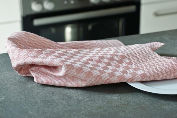 geschirrt cher kariert aus leinen farbe rosa. Black Bedroom Furniture Sets. Home Design Ideas