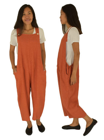 LE700RT Latzhose rost Leinen Overall Baggy