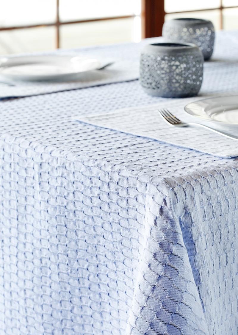 tischdecke aus leinen baumwolle in blau 140x210. Black Bedroom Furniture Sets. Home Design Ideas