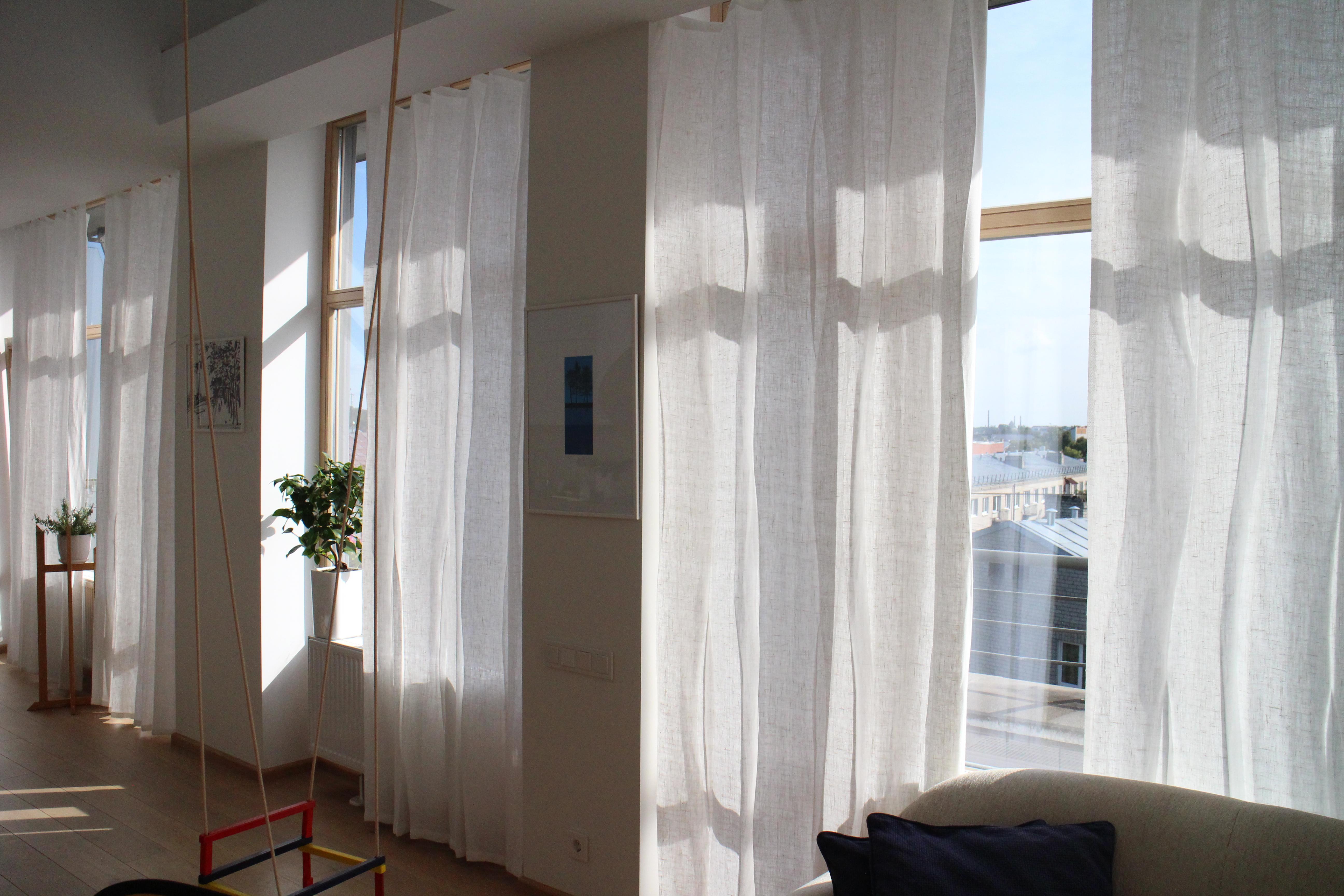 Leinengardinen 150x230 cm - weiß