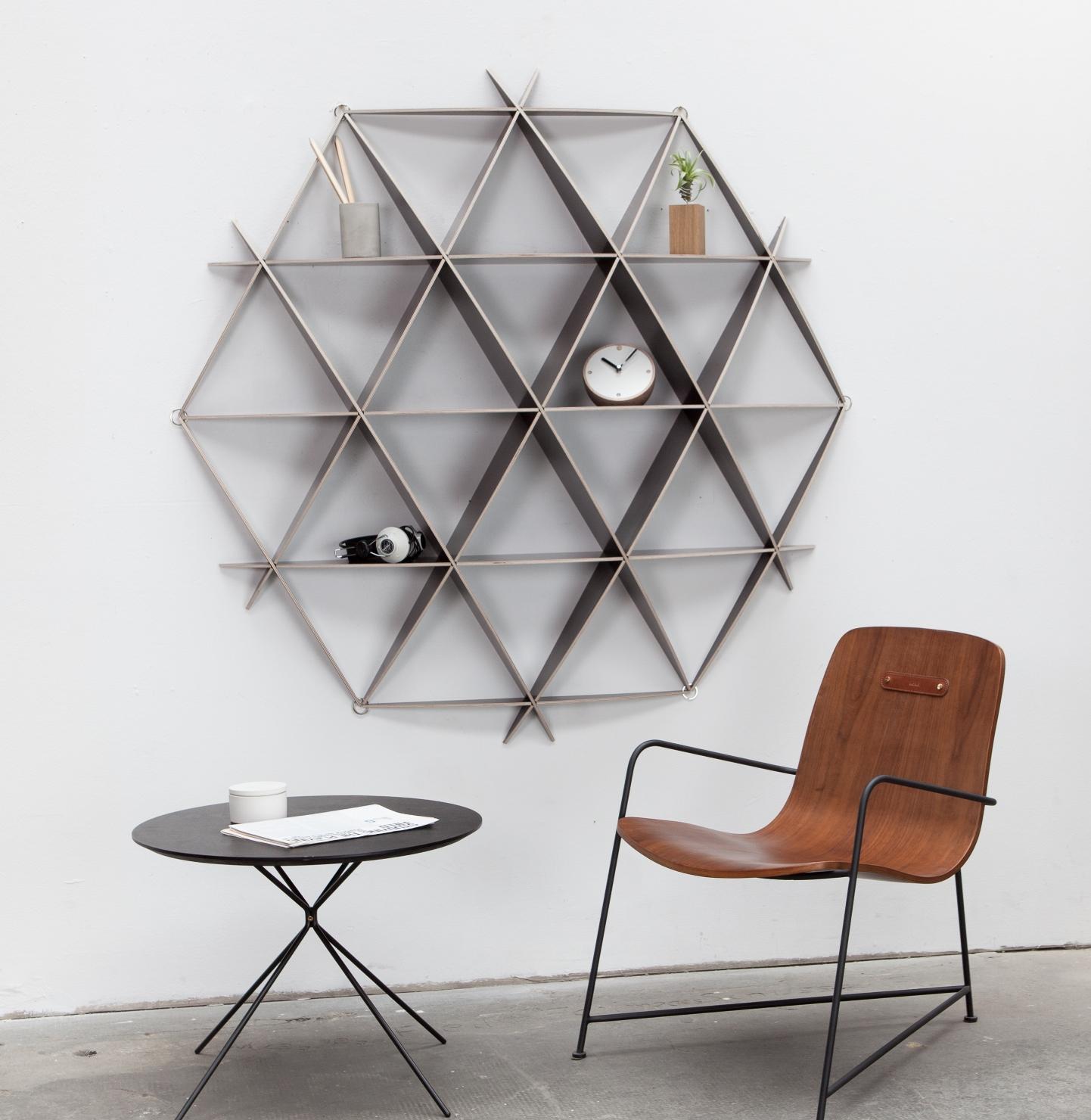 wandregal f r b cher aus birkenholz in schwarz. Black Bedroom Furniture Sets. Home Design Ideas